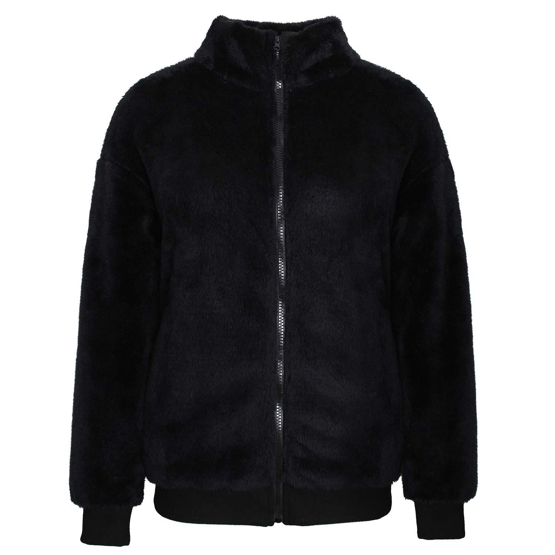 PESION Womens Fuzzy Fleece Pullover Long Sleeve Zip Sherpa Sweatshirt Coat Outwear