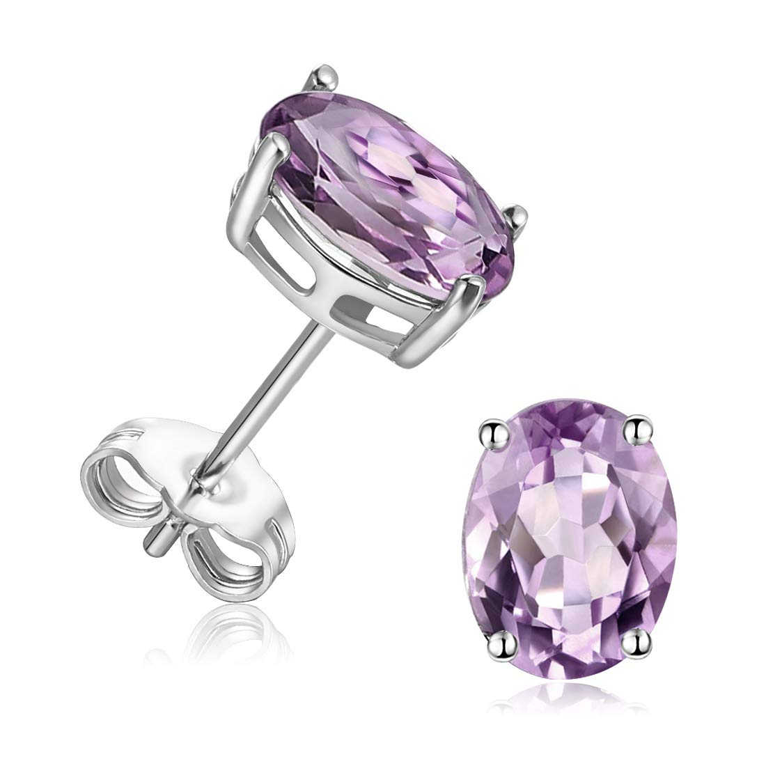 GEMSME 925 Sterling Silver 6.0mm Round Gemstone Stud Earrings for Women