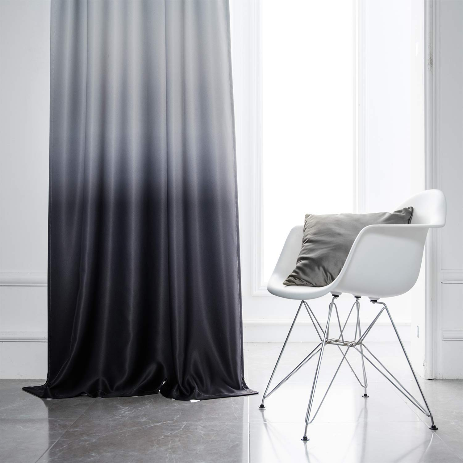 Yakamok Ombre Blackout Curtains White and Black Room Darkening Gradient Panel Curtains Thermal Insulated Rod Pocket Window Drapes for Living Room/Bedroom (Black, 2 Panels, 52x84 Inch)
