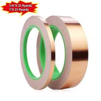 2 Pack Copper Foil Tape,Double-Sided Conductive Copper Tape for EMI Shielding,Slug Repellent,Paper Circuits,Electrical Repairs,Grounding(1/4in,1in) X 21.9yards