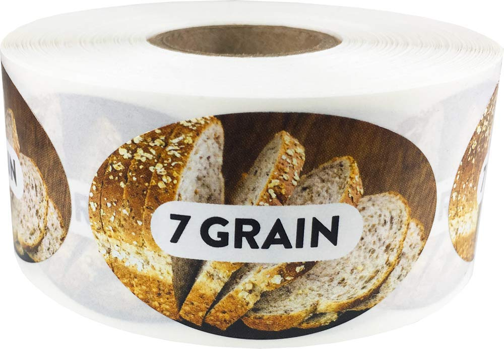 7 Grain Grocery Store Food Labels 1.25 x 2 Inch Oval Shape 500 Total Adhesive Stickers