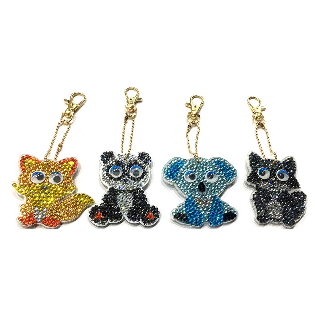 Diamond Painting Keychain Kit for Kids and Adults, DIY Full Drill Diamond Painting Art Crafts Animal 4 Pack