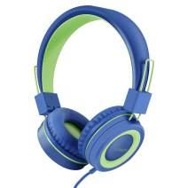 LORELEI X2 Headphone for Kids with Microphone Volume Control 3.5mm Plug Tangle-Free Nylon Cord,Over-Ear/On-Ear Kids Headphones for Girls/Boys/Teens/School/Plane/Smartphone/Tablet(Blue/Green