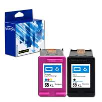 ESTON Remanufactured Ink Cartridge Replacement for HP 65XL 65 XL Used for Envy 5055 5052 5058 DeskJet 2655 2622 2624 2652 3755 3752 3720 3721 3722 3732 Printer (1 Black, 1 Tri-Color) Newest Chips