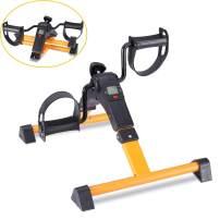 Pedal Exerciser Foot Peddler Mini Bike Foldable with LCD Monitor (Orange)