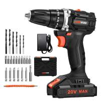 Brushless Cordless Drill/Driver Kit, LOMVUM 20V MAX Lithium-Ion Cordless Drill with 3/8 inches Keyless Chuck, 20+3 Torque Setting, 2-Variable Speed, 2.0 Ah Batteries, and 24-Piece Accessories