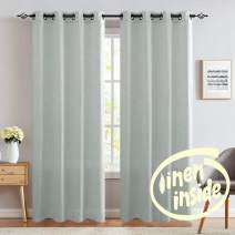 """jinchan Linen Curtains for Living Room Drapes Flax Window Curtain Panels for Bedroom 1 Pair 95"""" Grey"""