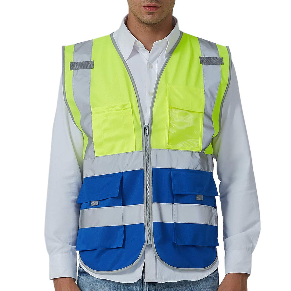 GOGO 9 Pockets High Visibility Zipper Front Safety Vest With Reflective Strips, Meets ANSI Standards-Yellow/Blue-XL
