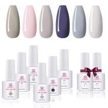 Makartt Gel Nail Polish Kit - Elegant Series 6 Colors 8ml Pink Purple Spring Summer Gel Polish Gel Base Top Coat Nail Polish UV LED Soak off Gel Nail Art Gift Kit Nail Lamp Required P-65