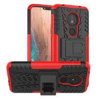 Moto G7 Power Case,Moto G7 Supra Case,Moto G7 Optimo Maxx case,PUSHIMEI with Kickstand Hard PC Back Cover Soft TPU Dual Layer Protection Phone Cover for Motorola Moto G7 Power(Red Kickstand case)