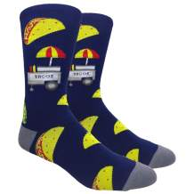 Novelty Socks for Men - Fun Colorful Dress Socks - Premium Cotton - Size 8-13 (One Pair) (The Taco Stand (Navy/Grey))