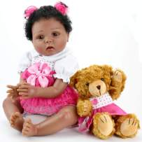 Aori Reborn Baby Dolls Lifelike Weighted Black Girl Doll 22 Inch with Teddy Toy Accessories Best Birthday Set for Girls Age 3