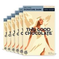 The Good Chocolate Zero Sugar 65% Signature Dark Chocolate Bars, Organic, Keto Friendly, Low Carb, Sugar Free Snacks and Treats, 2.5 Ounce Bars (6 Pack)