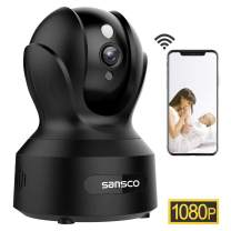 SANSCO 2MP 1920x1080p Indoor Wireless Security Camera Home Monitor WiFi Camera for Pet/Baby Surveillance IP Camera with IR Night Vision, Motion Detection Push Alerts and Two-Way Audio (Black)