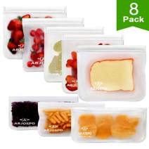 ARJOSPO Reusable Storage Bags (8 Pack) Silicone and Plastic Free Zip-lock for Food, Lunch,Sandwich, Small Kids Snack Size, Travel Baggies and More | Bag with Zipper and seal Lock Top Freezer Safe