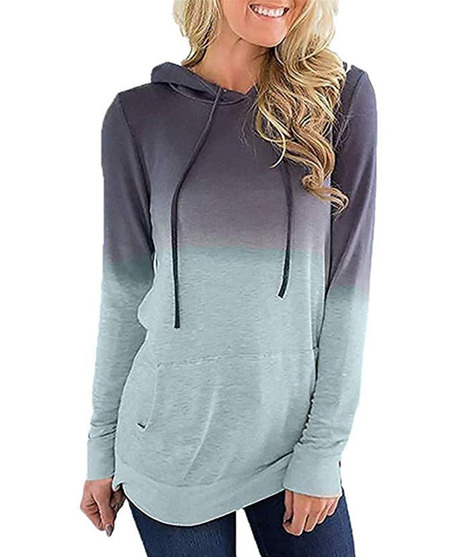N NORA TWIPS Women's Long Sleeve Hoodie Sweatshirt Colorblock Tie Dye Print Pullover Shirt Blouse Pocket