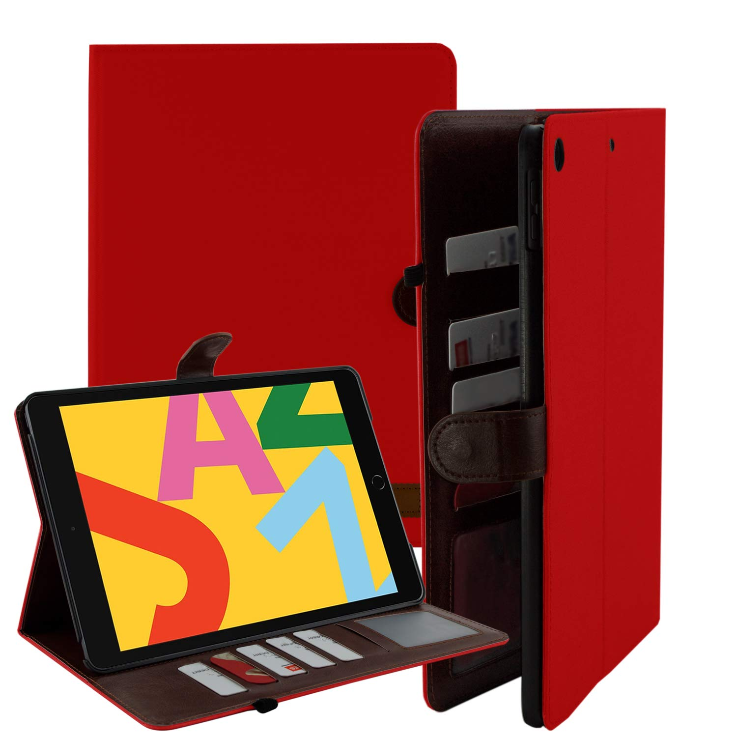 iPad 10.2 Case, Fits iPad 7th Gen, PU Leather Folio Portfolio Canvas Protective Case Cover, Slim, Lightweight with Card/ID Slots for Apple iPad 7th Generation (Red)