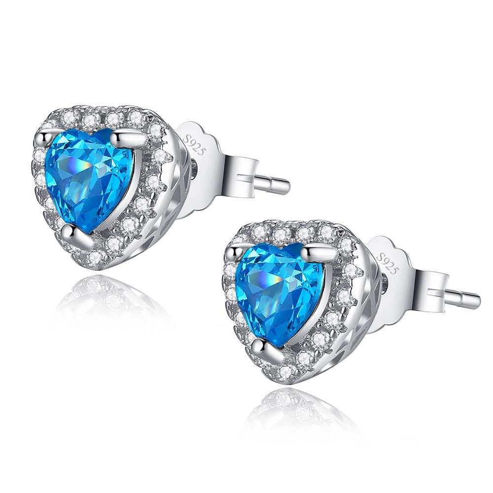 MABELLA Sterling Silver Halo Heart Simulated Birthstone Gemstone Earrings Studs Cubic Zirconia for Women…