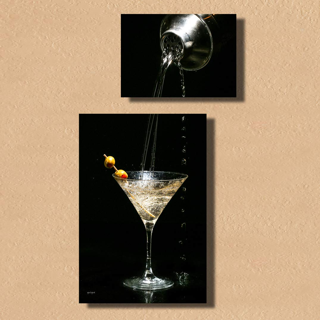 Quique Photography Wall Decor - Home Decor Set of Two Metal Print Pictures Wall Art for Dining Room Kitchen Decor or Bar Decor (Martini)