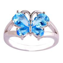 Empsoul 925 Sterling Silver Plated Pear Cut Filled 4PCS Blue Topaz Created Butterfly Engagement Wedding Ring for Women Size 9