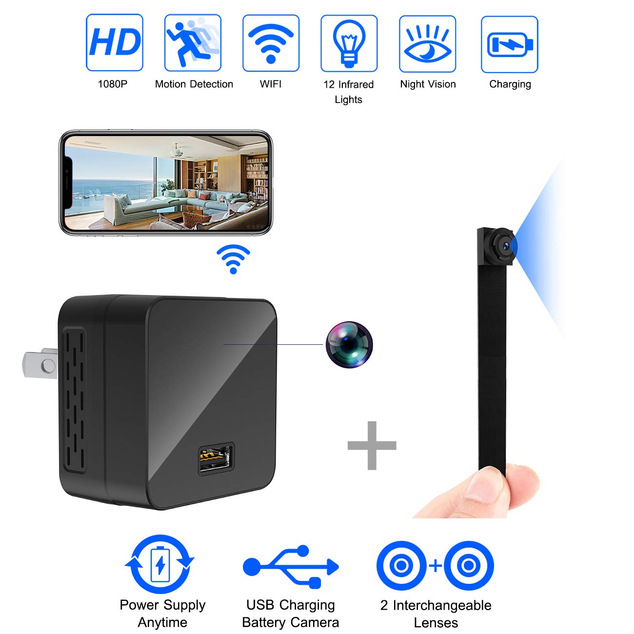 Spy Camera Charger WiFi Hidden Cameras 1080P Wireless Surveillance Video Camera Covert Nanny Cam USB Wall Adapter Mini Cams Plug Rechargeable for Home Security w/ 2 Lens/Night Vision/Motion Detection