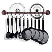 TLBTEK 31.5 Inch Copper Pipe Pot Rack Wall Mounted,Pots and Pans Hanging Organizer,Pot Lid Utensil Holder,Coffee Mug Rack,Cup Hanger Bar for kitchen with 10 Detachable S Hooks