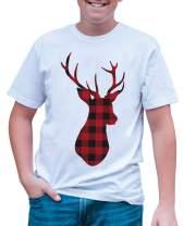 7 ate 9 Apparel Mens Plaid Deer Christmas T-Shirt