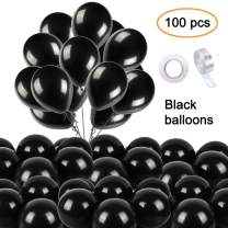 ANAHAT Black Balloons for Party 100 pcs 10 inch Thick Latex Balloons for Birthday Wedding Engagement Anniversary Christmas Festival Picnic or Any Friends & Family Party Decorations