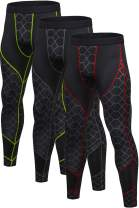 Yuerlian Men's Compression Pants Cool Dry Baselayer Tights Leggings 3 Pack