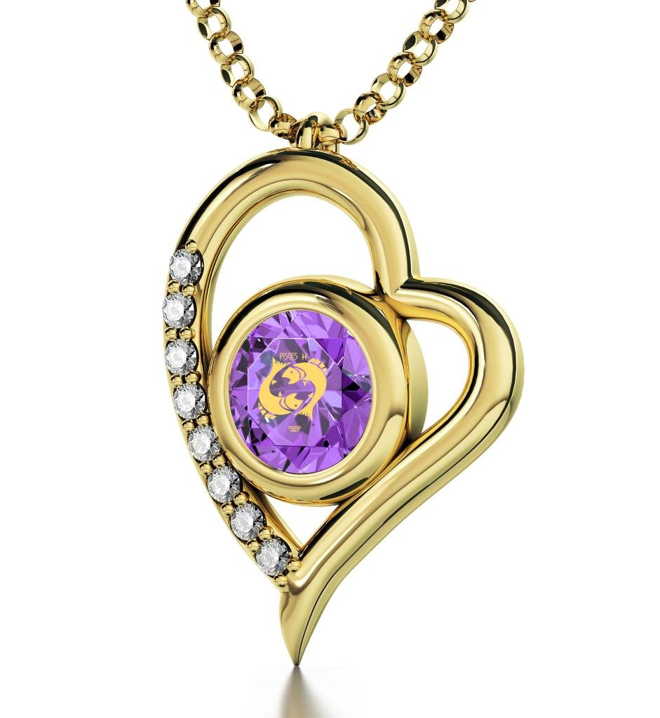 "Nano Jewelry Gold Plated Pisces Heart Necklace Zodiac Pendant for Birthdays 19th February to 20th March 24k Gold Inscribed with Star Sign and Symbol on Swarovski Crystal Stone, 18"" Gold Filled Chain"
