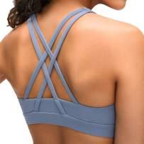 Lavento Women's Strappy Sports Bra High Neck Padded Medium Support Workout Training Bra Top