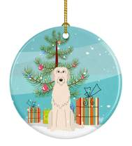 Caroline's Treasures Merry Christmas Tree Irish Wolfhound Ceramic Ornament
