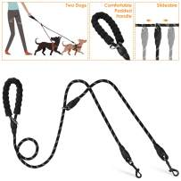 Lukovee Double Dog Leash Splitter, Dual Pet Leash Coupler Connect to Collar Harness Slideable Rope Dog Lead with Soft Padded Handle, No Tangle360° Swivel Hook for 2 Dogs Walking Training