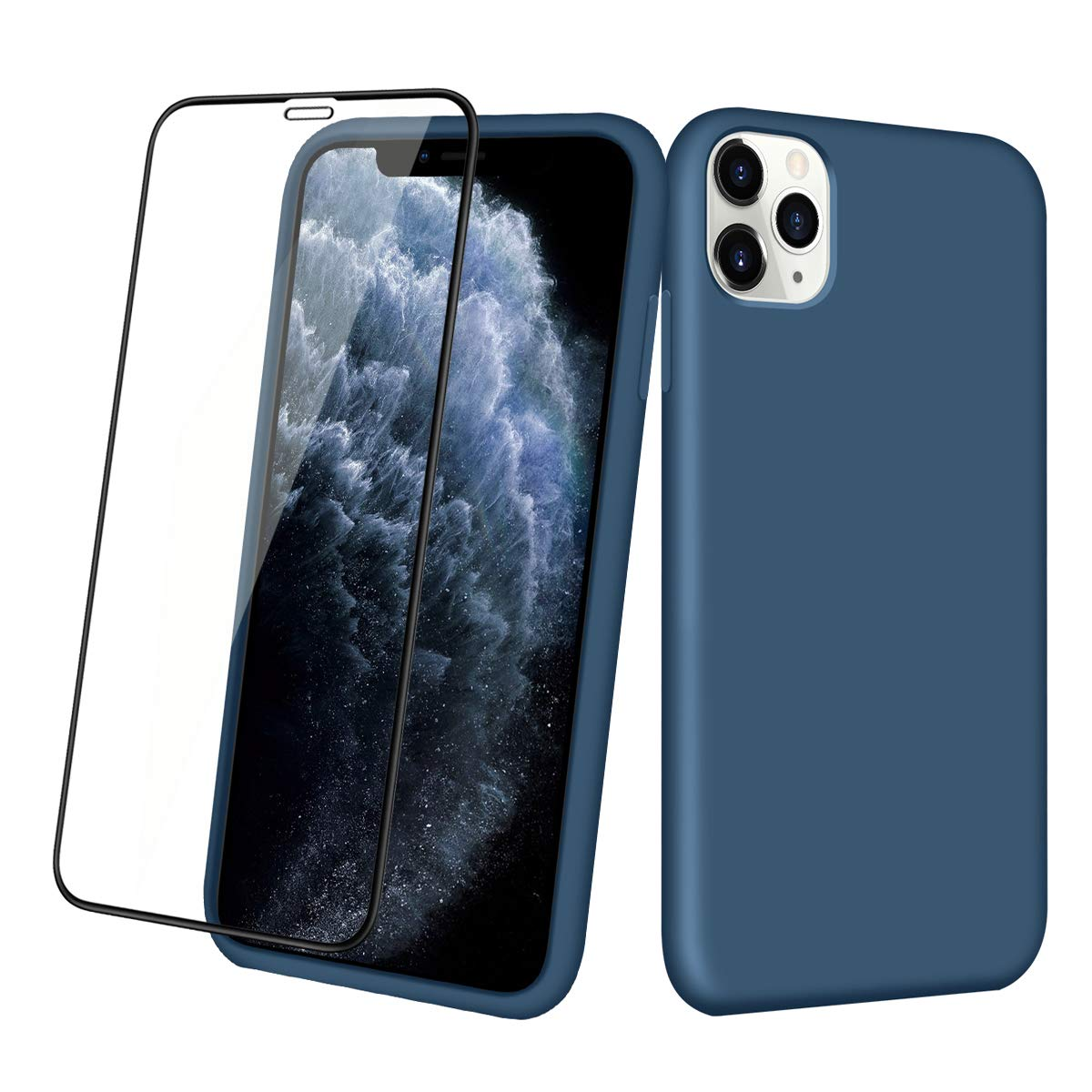 Aemotoy Case for iPhone 11 Pro Max Soft Rubber Silicone Case Full Body Wrapped 2 in 1 with Tempered Glass Anti-Scratch Shock Absorption Slim Cover Case for 2019 Release iPhone 11 Pro Max, Dark Blue