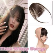 """Clip in Hair Bangs Human Hair Thin Clip on Wispy Hair Fringe Extensions Flat Piecy Air Fringe with Temple for Women One-piece 5"""" Hairpiece #2 Dark Brown"""