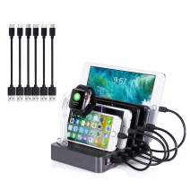Charging Station with Quick Charge QC 3.0 60W,Amicable 6-Port Charger Docking Station with Smart Identification,Organizer for Multiple Devices l Watch Holder,for Phones, Tablets, and Other Electronics