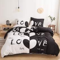 Couple Bedding White Black Love Duvet Cover Set White Black Love Printed Design Black White Bedding Sets Twin 1 Duvet Cover 1 Pillowcase (White Black Love, Twin)