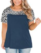 VISLILY Plus Size Tops for Women Short Sleeve Blouses Leopard Print Tunic Shirts