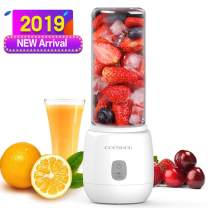 Portable Smoothie Blender- 200W Personal Blender with Six Blades in 3D, 15oz Mini Mixer Juicer Cup with USB Rechargeable, Travel Glass Blender Great for Sports, Gym,Drive, Office (FDA, BPA Free)