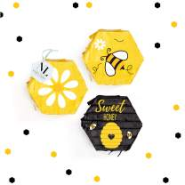 NICROLANDEE Bee Party Decorations - What Will It Bee Gender Reveal Sweet Mini Pinatas Confetti for Baby Shower Bee Day Bee Themed Baby Birthday Party Kids Themed Parties (3PCS)