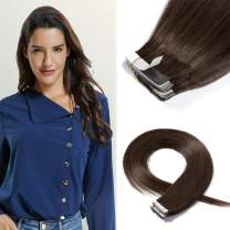 16 Inch Tape in Hair Extensions Remy Human Hair 100g 40pcs #4 Medium Brown Light Color Long Straight Hair Seamless Skin Weft Glue in Human Hairpieces with Invisible Double Sided Tape