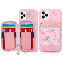 """WWW iPhone 11 Pro Max Case,iPhone 11 Pro Max Wallet Case,Premium PU Leather Wallet Case with Card Slots Zipper Wallet Pocket Purse Wrist Strap Shockproof Case for iPhone 11 Pro Max 6.5"""" 2019 Pink"""