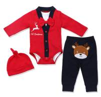 Baby Girls Boys Christmas Outfit My First Christmas Rompers 4Pcs Set