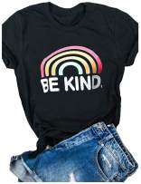 Be Kind Tshirts Women Rainbow Graphic Tees Inspirational T Shirts Casual Short Sleeve Tops