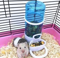 Old Tjikko Automatic Pet Feeder,Bird Hamster Small Animal Feeder, Automatic Feeding Device Water Dispenser for Hamster Bird Pigeon Parrots Mini Hedgehog with Holder