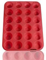 Laminas Silicone Mini Muffin Cupcake Baking Pan 24 Cup Bite Size, BPA Free, Non Stick, Easy To Clean, Oven, Microwave, Dishwasher, Freezer safe, Heat Resistant Up To 450F, Red - Plus Free Recipe eBook