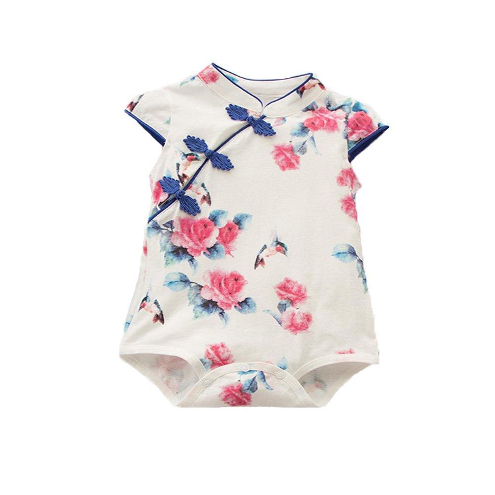Fairy Baby Baby Girl Cheongsam Dress Short Sleeve Formal Qipao Bodysuit,9-12Months,Blue Flower