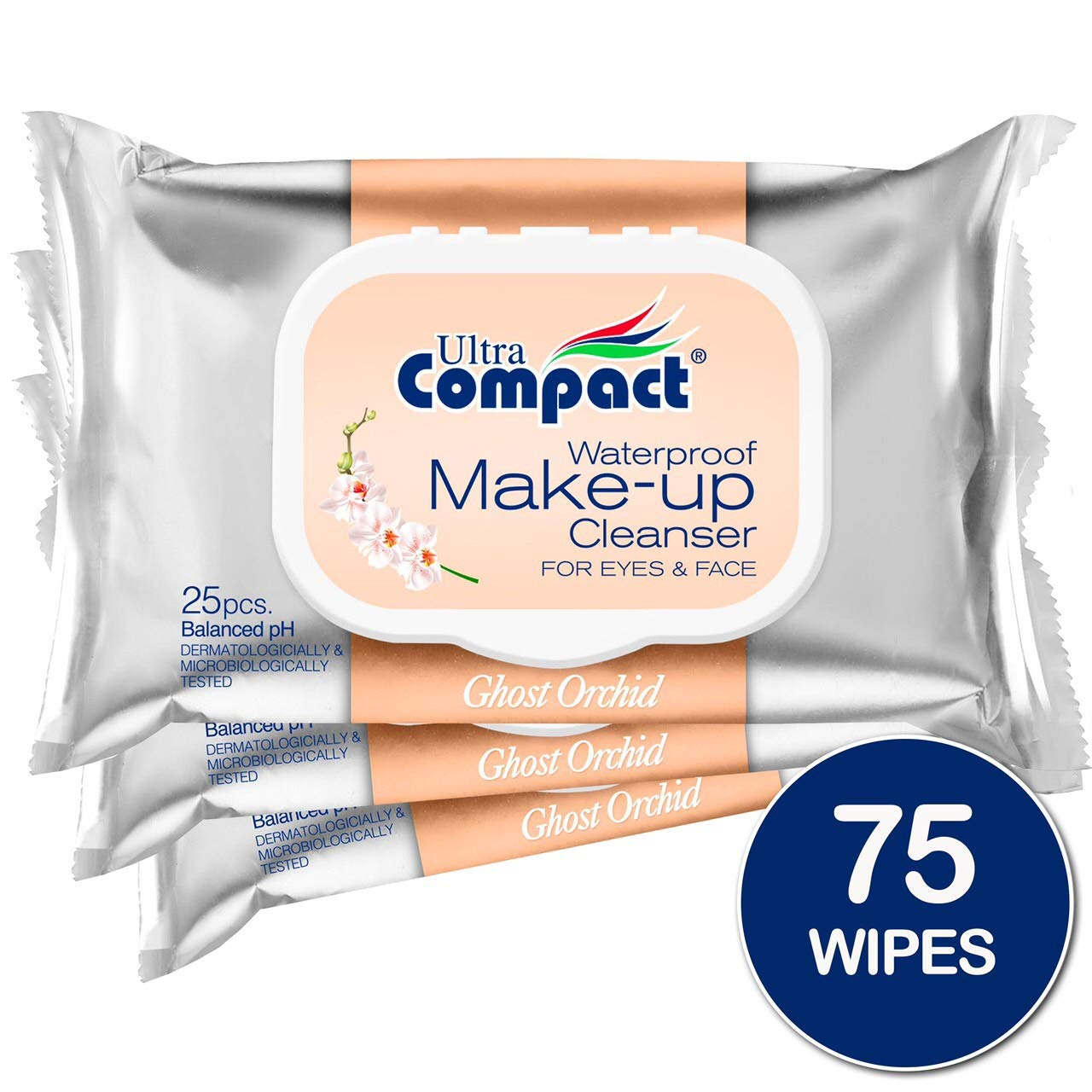 Ultra Compact Makeup Remover Wipes - No Harsh Chemicals Eye Makeup Remover - Dermatologically & Microbiologically Tested Face Wipes - Ghost Orchid Or Fragrance Makeup Wipes -3 Packs of 25 Wipes