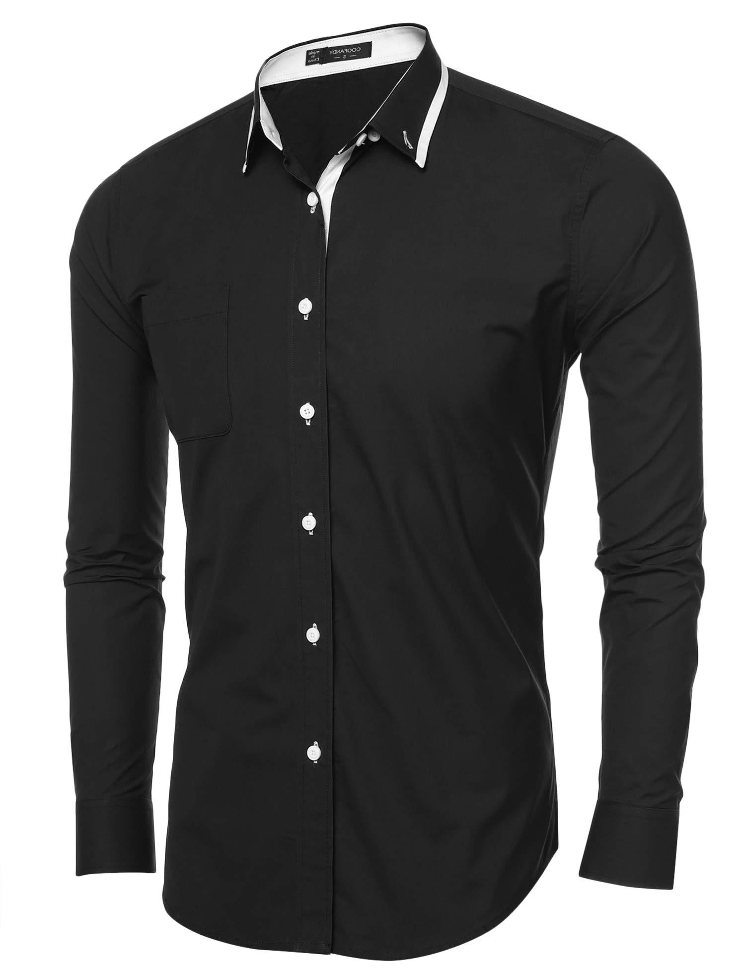 COOFANDY Mens Casual Slim Fit Long Sleeve Shirt Dress Shirts(Black,Medium)