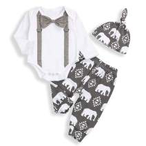 Newborn Baby Boy Clothes Long Sleeve Romper and Elephant Pants with Hat Tie Outfits Set